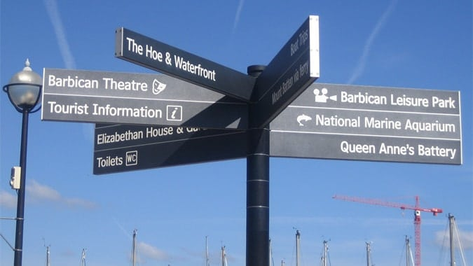 Directional signage on Plymouth Hoe