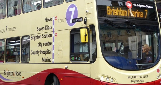 Bus routes painted onto the bus