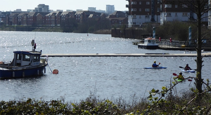 Canoeing in Cardiff Bay