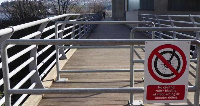 No cycling on the boardwalk sign