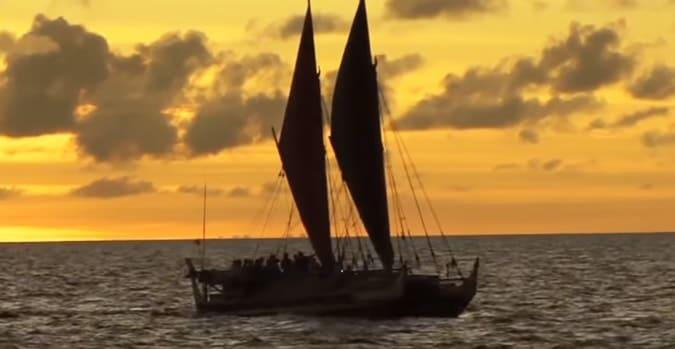A Hawaiian hokulea boat