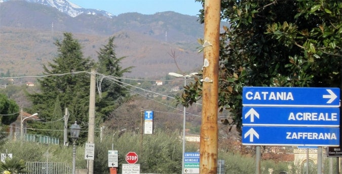 A Sicilian road sign on the Etna