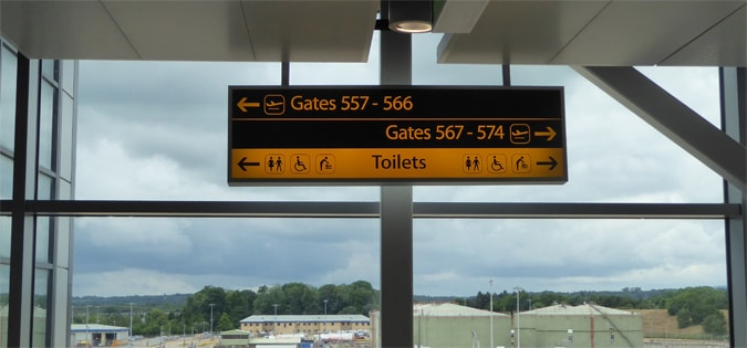 Directional signage in an airport