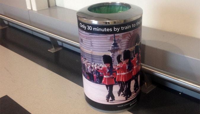 Branding on a rubbish bin