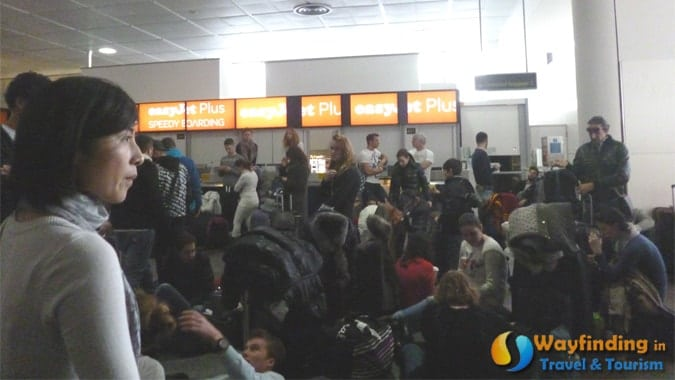 Temporary Signage and Cancelled Flights in Gatwick Airport
