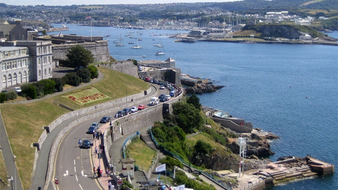 Viewing the area via the lighthouse on Plymouth Hoe