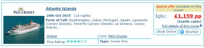Iglu cruises October cost