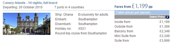 P&O updated price