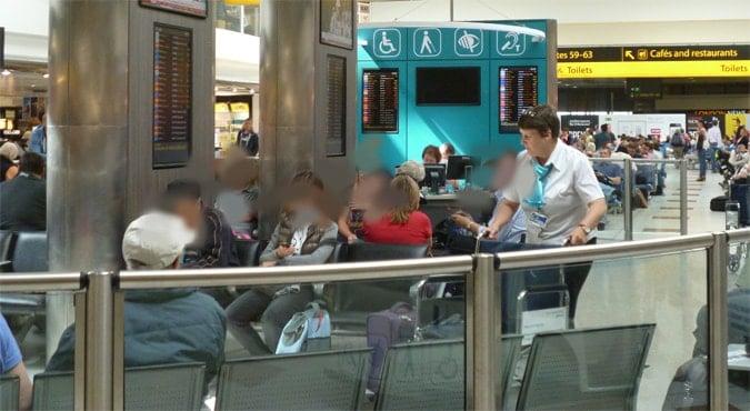 Departures side assistance section