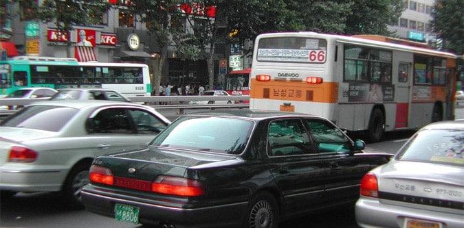 Rush hour in Seoul Korea