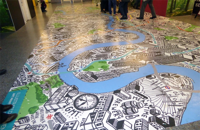 Floor map of London and telling a story and narrative