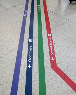 Floor signage colour coded