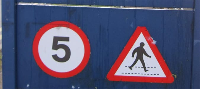 Example of safety warning signage