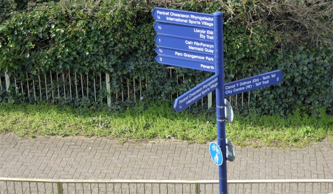 Cardiff Bay Wales navigational signage
