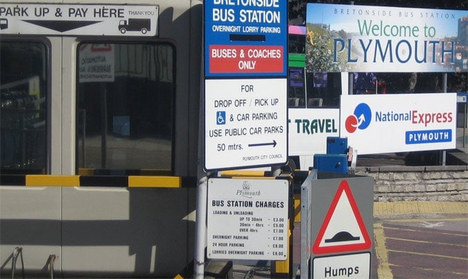 Signage cluttering and clustering in a bus and coach station in England